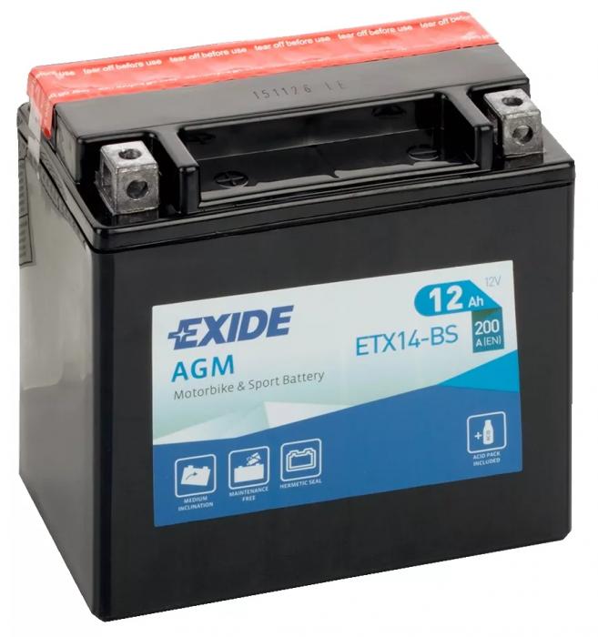 Acumulator Moto Exide cu AGM 12V 12 Ah borne inverse YTX14-BS-big
