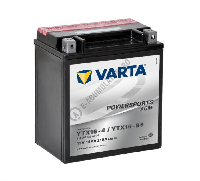 BATERIE MOTO VARTA cu AGM 12 V 14 Ah YTX16-BS borne inverse cod 514902022A514-big
