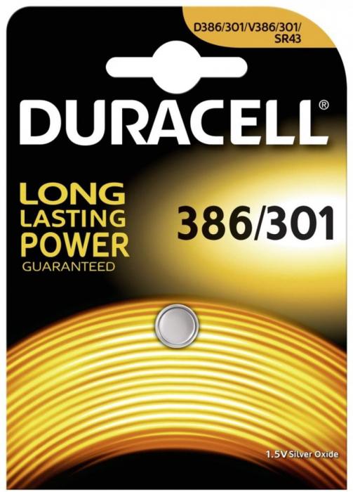 Baterie silver Duracell D 386 / 301, blister 1 buc-big