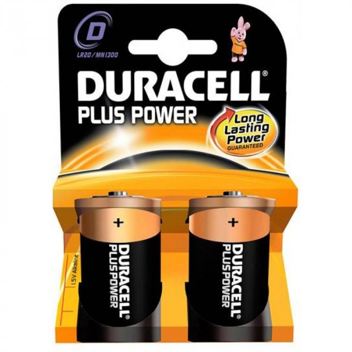 Baterii alcaline Duracell Plus MN1300, D,R20, blister de 2 buc-big
