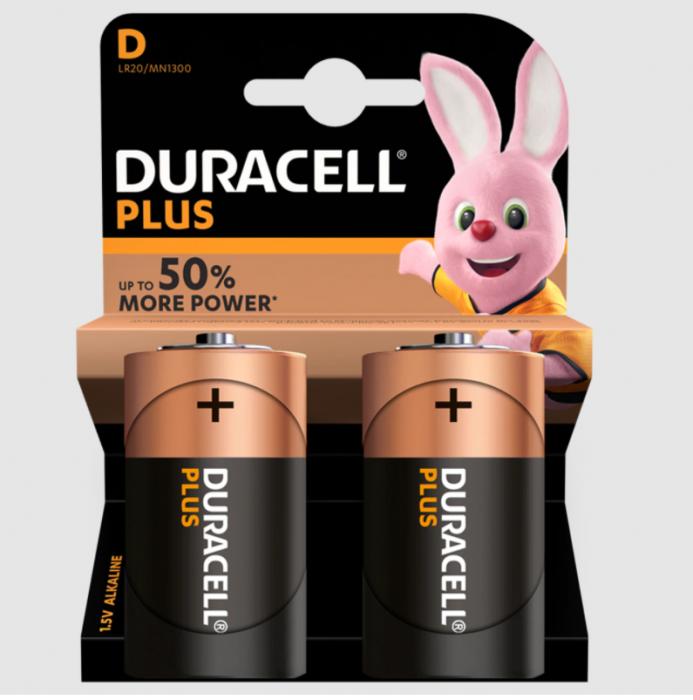 Baterii alcaline Duracell Plus POWER MN1300, D,R20, blister de 2 buc-big