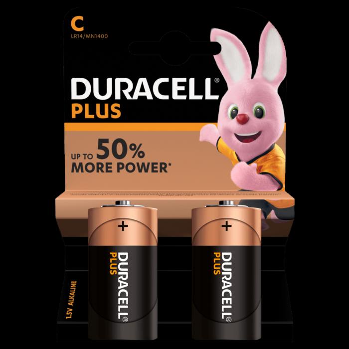Baterii alcaline Duracell Plus POWER MN1400, C,R14, blister de 2 buc-big