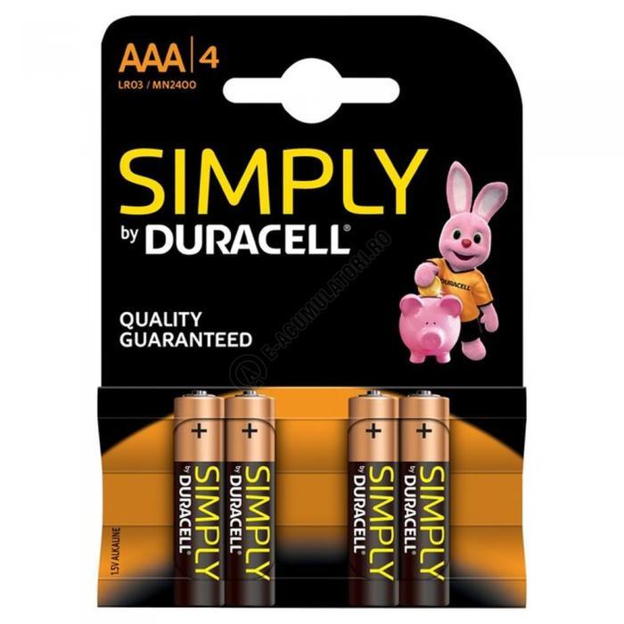 Baterii Alcaline Duracell Simply MN2400, LR3 ,AAA, blister de 4 buc-big