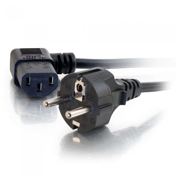Cablu de alimentare C2G 16 AWG European 90° (IEC320C13 to CEE7/7) 2m 88534-big