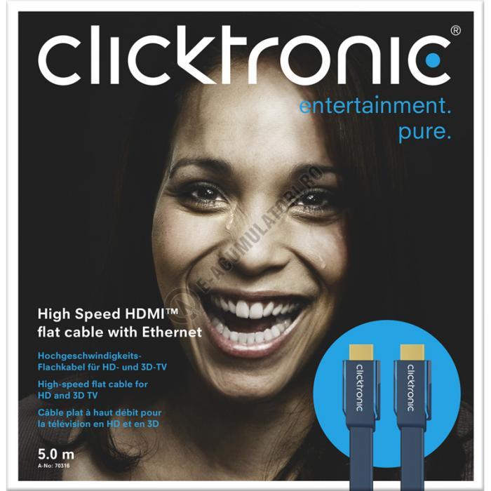 Cablu High Speed HDMI Flat Ethernet (HDMI A/HDMI A) 5 m Clicktronic cod 70316-big