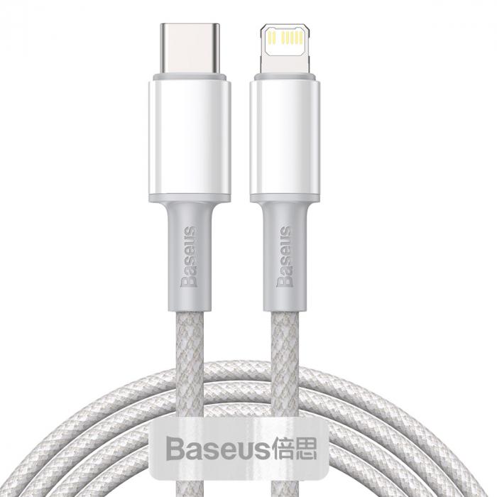 Cablu incarcare si transfer date Type C to Lightning - Baseus PD 20W, alb-big