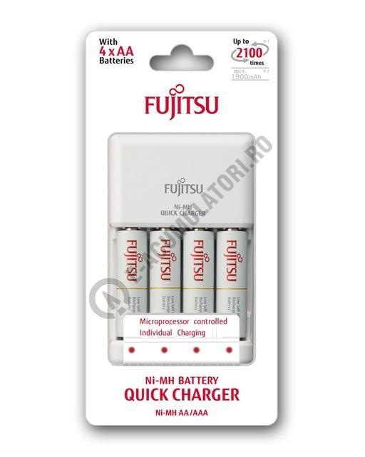 Incarcator Fujitsu cu microprocesor FCT344 + 4 acumulatori Fujitsu AA 1900mah inclusi-big
