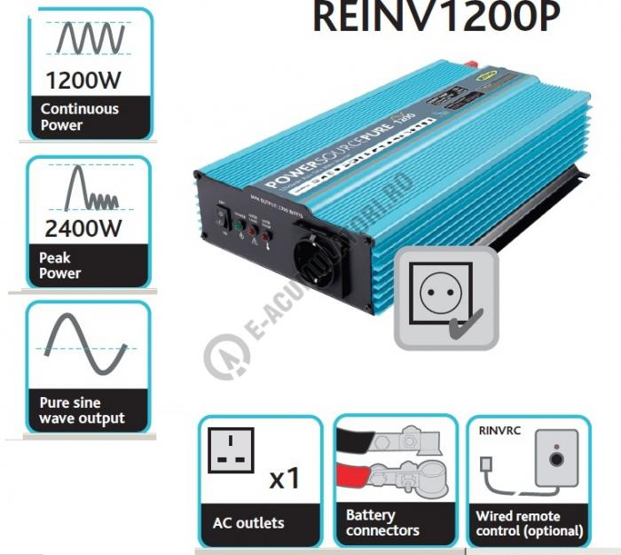 Invertor Profesional RING Pure Sine Wave 12V 1200W REINV1200P-big