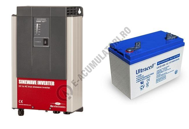 Invertor profesional TBS POWERSINE 1000-12 pur sinus DC/AC si acumulator VRLA Ultracell cu GEL 12V, 100Ah UCG100-12-big