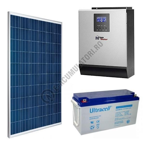 Kit fotovoltaic complet 1500 Wp, invertor 3 KVA, baterii GEL 150 Ah, productie 6kWh/zi-big