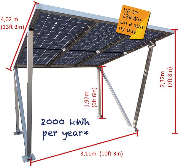 Parcare fotovoltaica Carport M-L, 1.92 kWp-big