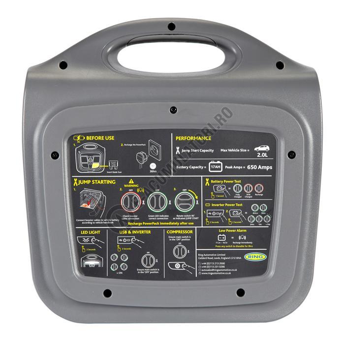 PowerPack Ring 12v 17Ah cu 2.1A USB, compressor si invertor 200W REPP170-big