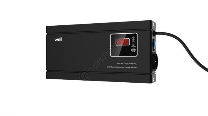 Stabilizator automat de tensiune cu releu Well 1000VA/600W, negru cod AVR-REL-1000VA-HBK-WL-big