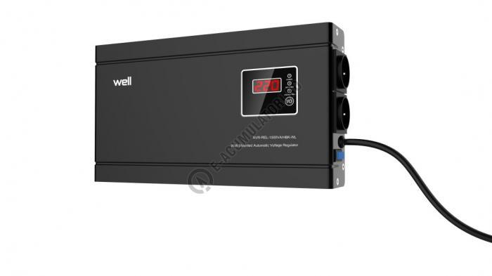 Stabilizator automat de tensiune cu releu Well 1500VA/900W, negru cod AVR-REL-1500VA-HBK-WL-big