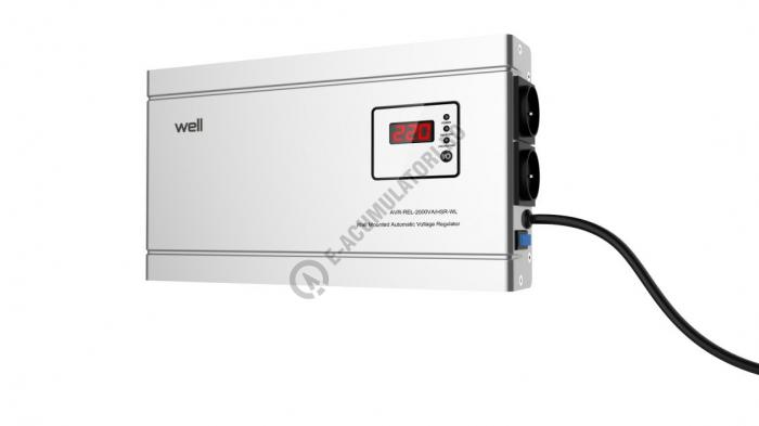 Stabilizator automat de tensiune cu releu Well 2000VA/1200W, silver cod AVR-REL-2000VA-HSR-WL-big
