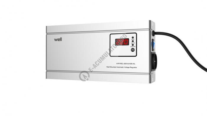 Stabilizator automat de tensiune cu releu Well 500VA/300W, silver cod AVR-REL-500VA-HSR-WL-big