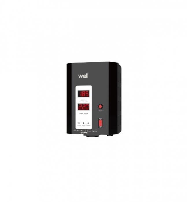 Stabilizator automat de tensiune cu servomotor Well 1000VA/600W AVR-SRV-SPRY1000BK-WL, negru-big
