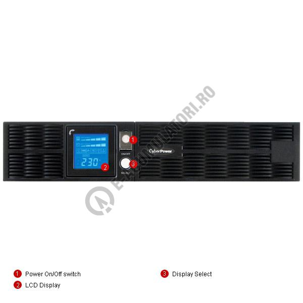 UPS Rackabil Cyber Power PR2200ELCDRT2U Line-Interactive 2200VA 1600W AVR, LCD Display, 8 IEC OUTLETS, USB & Serial port-big