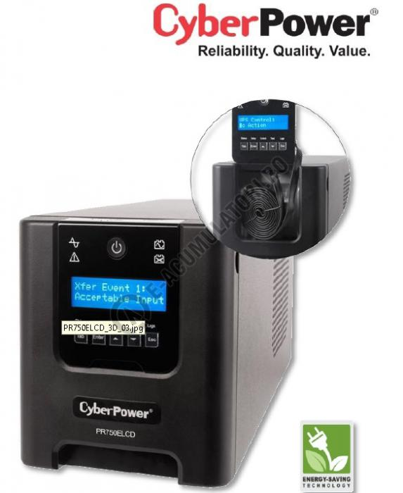 UPS Cyber Power PR750ELCD Line-Interactive 750VA 675W AVR, LCD Display, 8 IEC OUTLETS, USB & Serial port-big