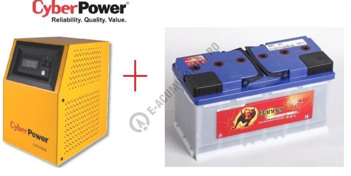 UPS pentru centrale termice Cyber Power CPS1000E 1000VA 700W cu Acumulator BANNER ENERGY BULL 100 AH-big