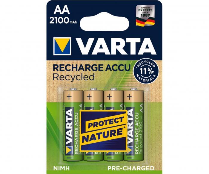 Acumulatori Varta Recycled AA R6 2100 mah preincarcati blister 4 buc 56816-big