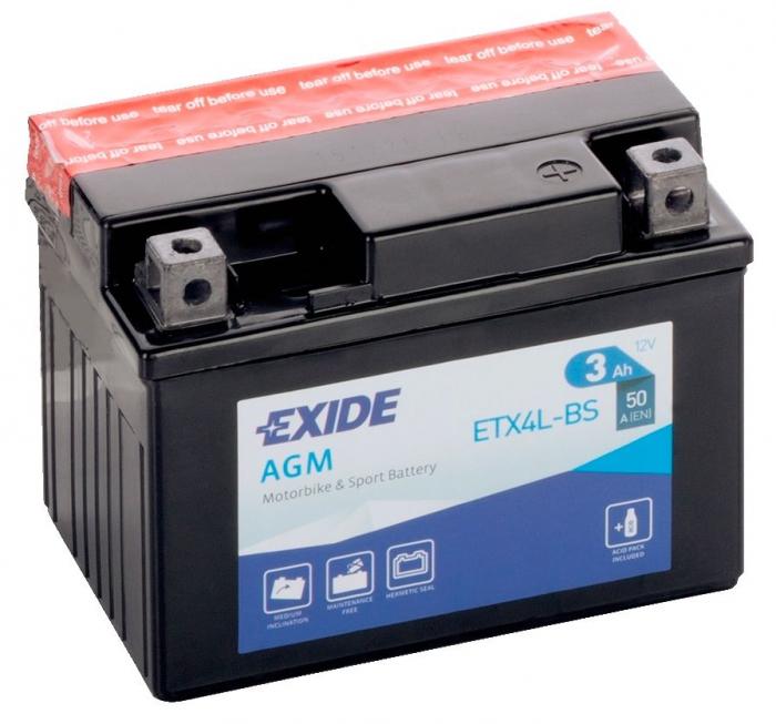 Acumulator Moto Exide cu AGM 12V 3 Ah YTX4L-BS-big