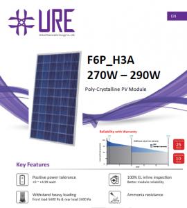 Panou solar Policristalin F6P275H3A URE 275W/60 de celule, 1640x992x35mm1