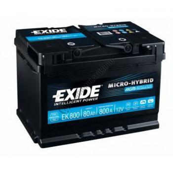 Acumulator Auto Exide AGM 80 Ah cod EK800 START-STOP PLUS1