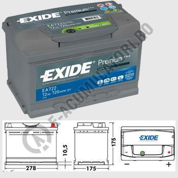 Acumulator Auto Exide Premium 72 Ah cod EA7222