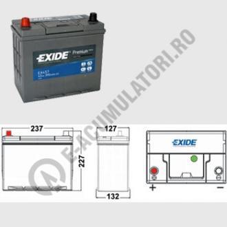 Acumulator Auto Exide Premium Asia 45 Ah cod EA457 borne inverse1