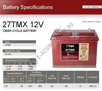 Acumulator Tractiune TROJAN 27 TMX Deep Cycle 12V 105 Ah1