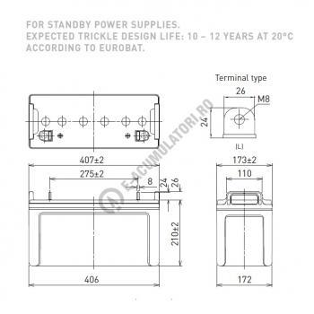 Acumulator VRLA Panasonic 12V 100 Ah cod LC-XB12100P (M8 bolt)1