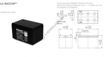 Acumulator VRLA Panasonic 12V 12 Ah cod LC-RA1212PG1 (F250)1