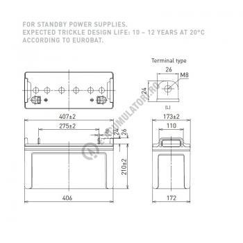 Acumulator VRLA Panasonic 12V 120 Ah cod LC-P12120P (M8 bolt)1
