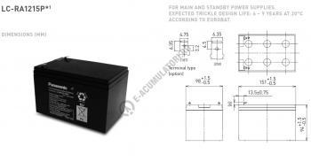 Acumulator VRLA Panasonic 12V 15 Ah cod LC-RA1215P (F187)1