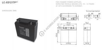 Acumulator VRLA Panasonic 12V 17 Ah cod LC-XD1217APG (M5 nut & threated post)1