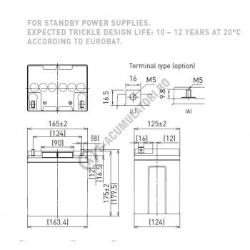 Acumulator VRLA Panasonic 12V 28 Ah cod LC-P1228AP (M5 nut & threated post)1