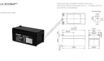 Acumulator VRLA Panasonic 12V 3,4 Ah cod LC-R123R4PG (F187)1