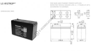 Acumulator VRLA Panasonic 12V 7,2 Ah cod LC-R127R2PG (F187)1