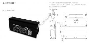 Acumulator VRLA Panasonic 6V 3.4Ah cod LC-R063R4P1
