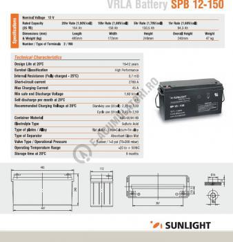 Acumulator VRLA SUNLIGHT 12V 150 Ah cod SPB 12-1502