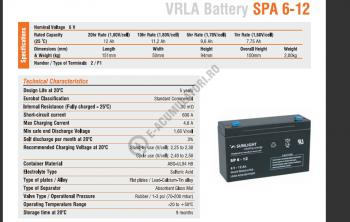 Acumulator VRLA SUNLIGHT 6V 12 Ah cod SPA 6-122
