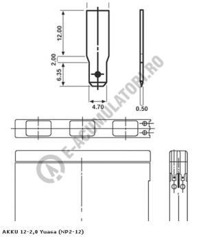 Acumulator VRLA Yuasa 12V, 2Ah NP2-121
