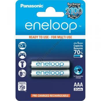 Acumulatori Panasonic Eneloop AAA 750mAh 2100 CICLURI preincarcati, blister 2 bucati BK-4MCCE/2BE0