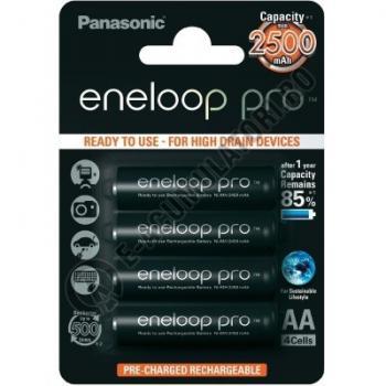 Acumulatori Panasonic Eneloop Pro AA 2500mAh 500 cicluri, bl 4 buc BK-3HCDE/4BE0