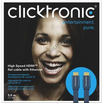 Cablu High Speed HDMI Flat Ethernet (HDMI A/HDMI A) 5 m Clicktronic cod 703161