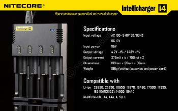 Incarcator Universal Inteligent NITECORE i4 ALL-IN-ONE, Li-Ion, Ni-Mh, Ni-Cd2