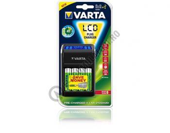 Incarcator VARTA LCD pentru AA, AAA si 9V cu 4 acumulatori Varta AA 2100mah inclusi  57677 R6 R30