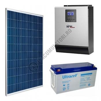 Kit fotovoltaic complet 1500 Wp, invertor 3 KVA, baterii GEL 150 Ah, productie 6kWh/zi0