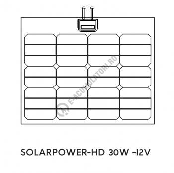 Panou solar fotovoltaic SOLARPOWER HD 30W-12V XUNZEL cu cablu 3+3M SPHD030121